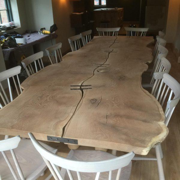 Waney Edge Oak, Steel Strap Braced Table.